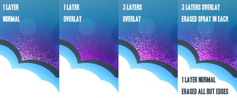 Duplicated the Spray Layers, and playing with the blending Modes gives off different effects