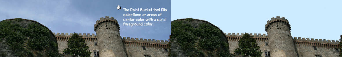 The Paint Bucket tool fills selections or areas of similar color with one solid foreground color.