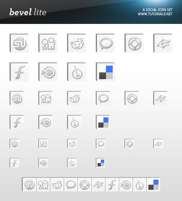 Free Social Icon Pack Bevel Lite Preview