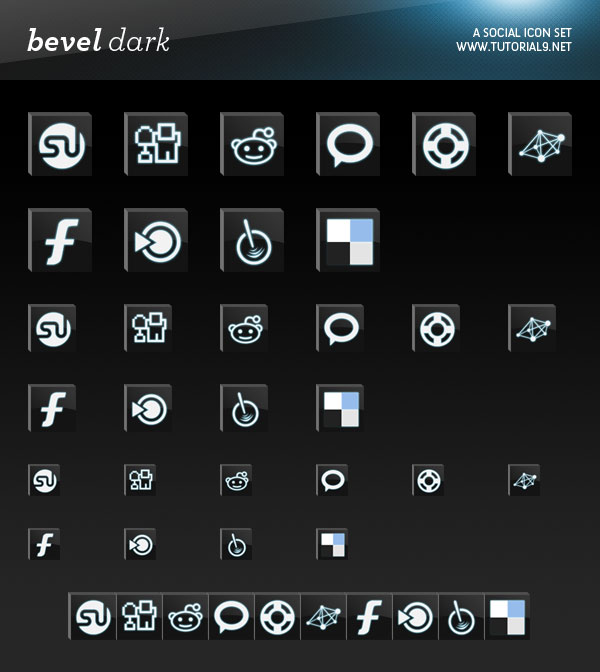 Bevel Dark Social Icons Packs