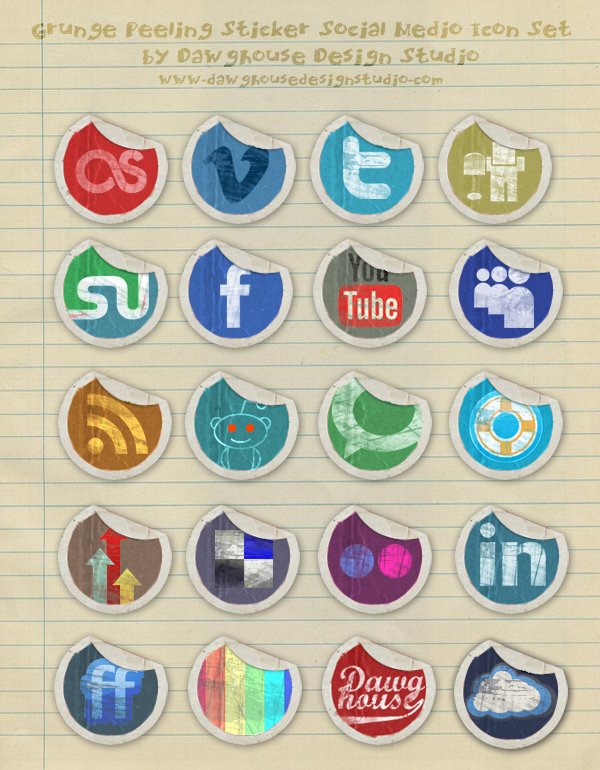 Grunge Peeling Stickers Social Media Icon Pack