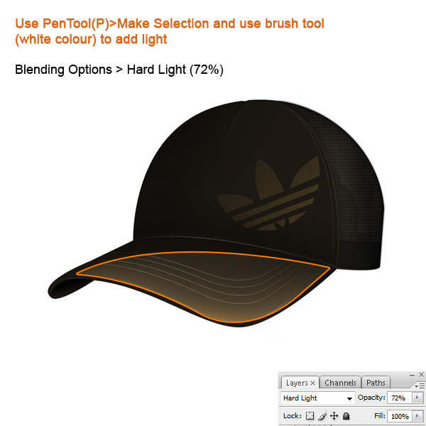 step10 - Design a Realistic 3D Baseball Cap in Photoshop