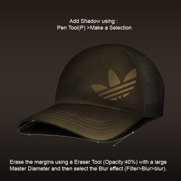 step14 - Design a Realistic 3D Baseball Cap in Photoshop