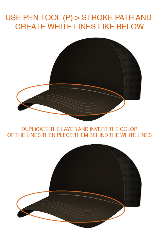 step5 - Design a Realistic 3D Baseball Cap in Photoshop