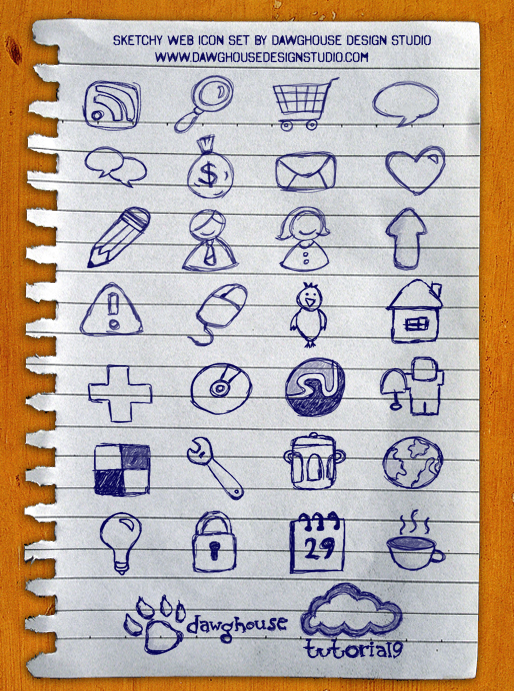 Sketchy Web Icons