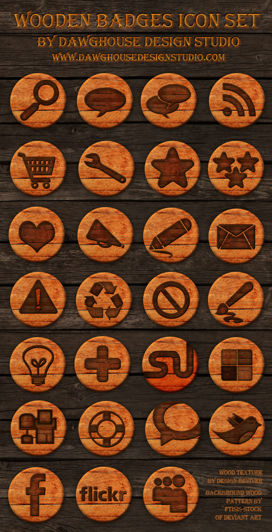 Wooden Social Media Icon Pack