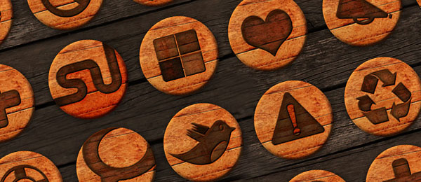27 Free Wooden Badges – Social Icon Pack