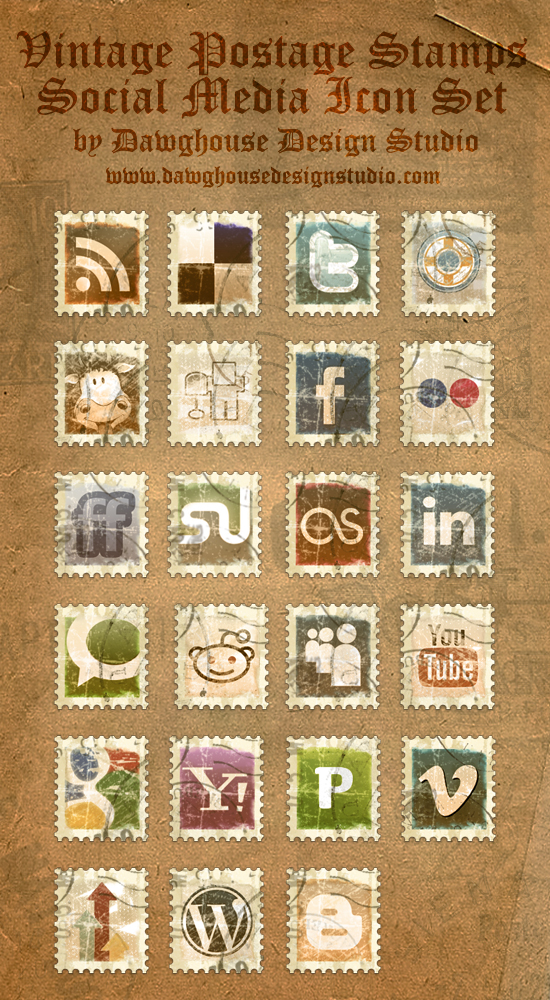 Vintage Stamp Social Media Icon Pack